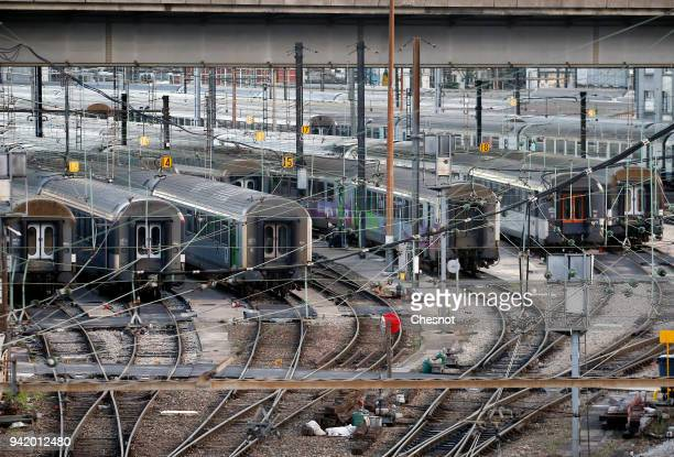 Trains stand still during the second day of a SNCF French national railways strike near the Austerlitz station on April 04 2018 in Paris France A...