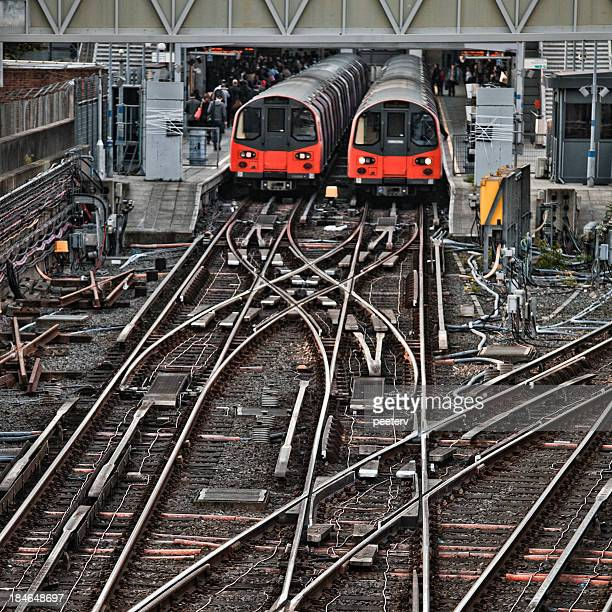 Trains standing in Stratford Station, London