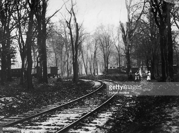 Trains used by the German and Allied delegations in a railway siding in Compiegne Forest during three days of armistice negotiations at the end of...