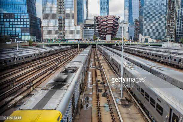 trains wait at hudson yards - hudson yards stock pictures, royalty-free photos & images