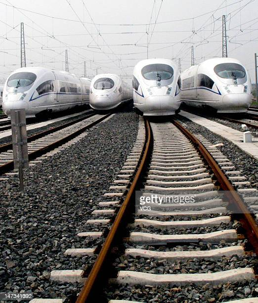 CRH380B trains which will service the HarbinDalian highspeed railway are seen on June 27 2012 in Shenyang China The 904kmlong HarbinDalian line which...