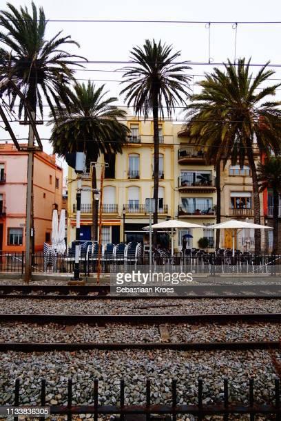 TrainTracks along Passeig de la Rambla, Badalona, Spain