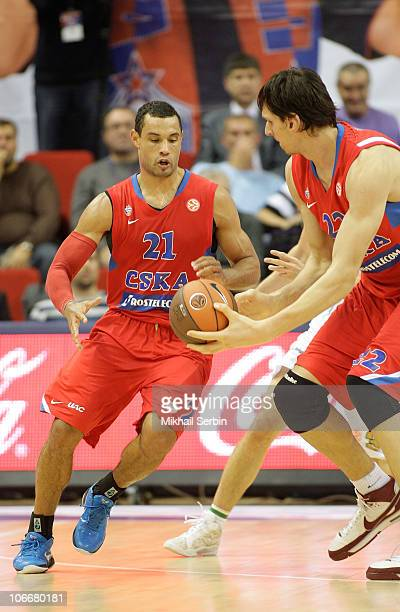 Trajan Langdon, #21 and Boban Marjanovic, #22 of CSKA Moscow in action during the Turkish Airlines Euroleague Day 4 game between CSKA Moscow and...