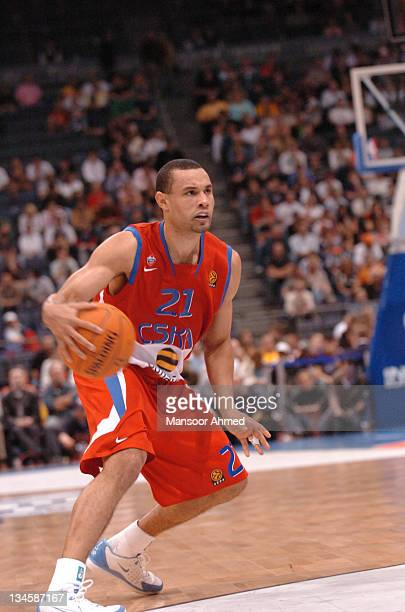 Trajan Langdon controls the basketball during the NBA Europe Live Tour presented by EA Sports on October 10 2006 at the Koeln Arena in Cologne Germany