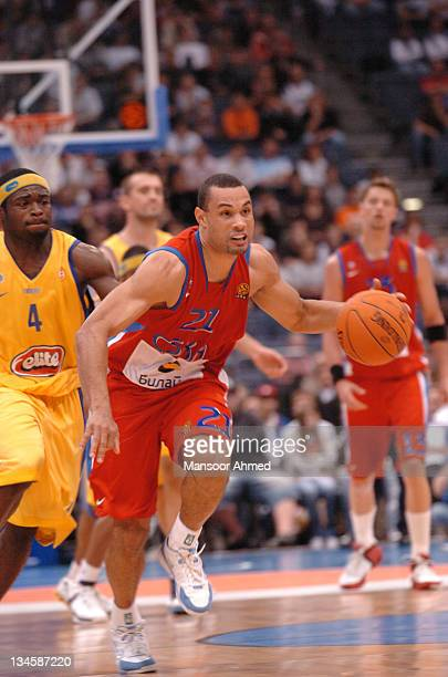 Trajan Langdon of CSKA Moscow gets by Will Bynum of Macabbi Tel Aviv during the NBA Europe Live Tour presented by EA Sports on October 10 2006 at the...