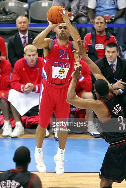 Trajan Langdon of the CSKA Moscow shoots against the Philadelphia 76ers during the preseason game as part of the NBA Europe Live Tour on October 11...