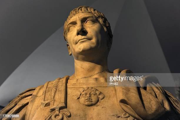 Trajan . Roman Emperor from 80 to 117 A.D. Sculture. Ny Carlsberg Glyptotek. Copenhagen. Denmark.