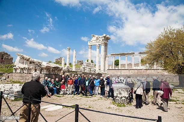 Vespasian Tempel Spalten in der Altstadt von Pergamon izmir, Türkei