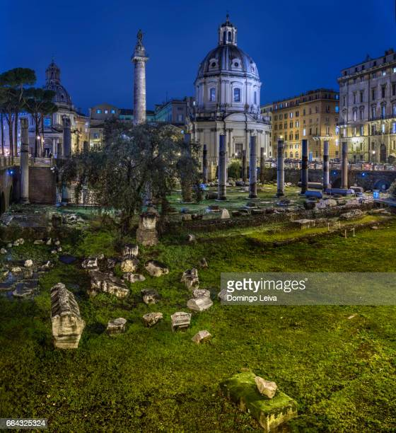 Trajan's Column (Colonna Traiana) and Trajan's Forum in Rome, Italy