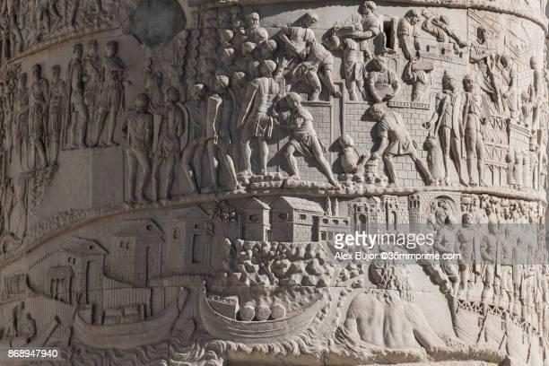 trajan's column - roma antigua fotografías e imágenes de stock