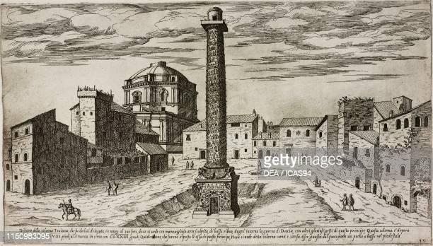 Trajan's Column Trajan's Forum Rome Lazio Italy engraving from I vestigi dell'antichita di Roma by Etienne du Perac plate 33 Rome