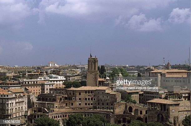 Trajan's Market in the foreground with the skyline Rome Italy