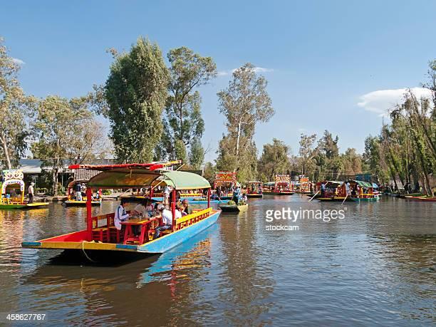 Trajinera boats in Xochimilco, Mexico City