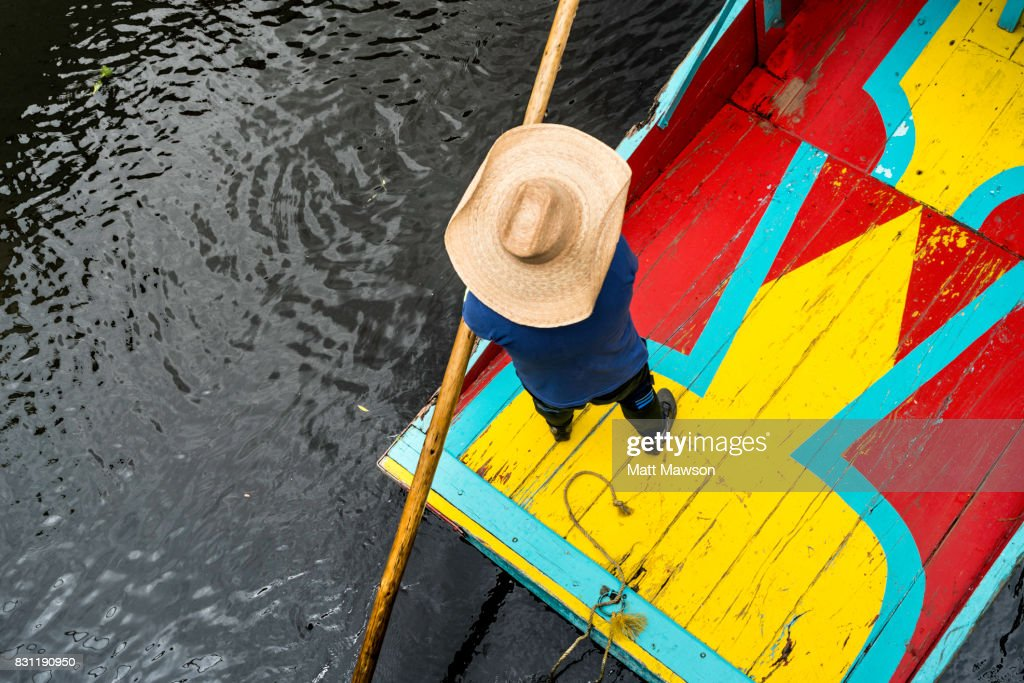 Trajinera or punt on the canals and floating gardens of Xochimilco Mexico City : Stock Photo