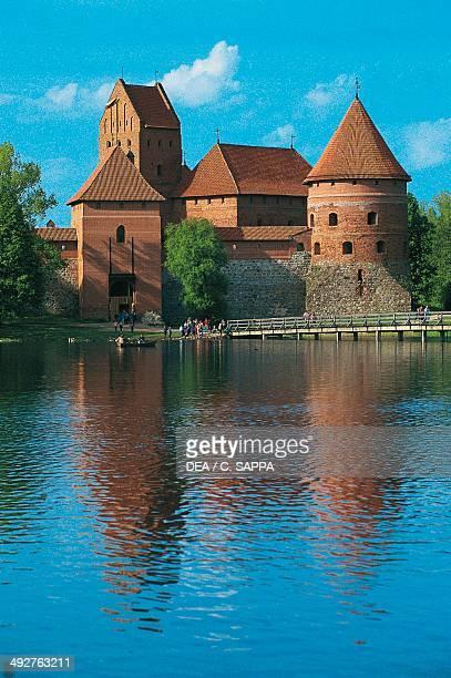 Trakai Island castle 14th century on an island in Lake Galve Lithuania