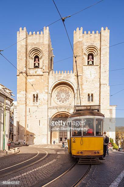 Tram 28 and Lisbon Cathedral.