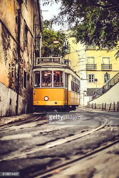 tram 28 - martim moniz - alfama stock photos and pictures