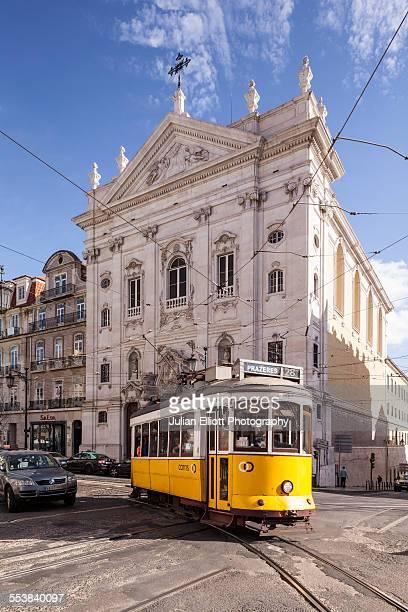Tram 28 passing in Baixa, Lisbon, Portugal.