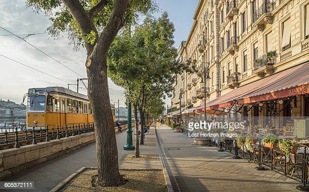 tram and restaurant along the danube, hungary, budapest - traditionally hungarian stock pictures, royalty-free photos & images