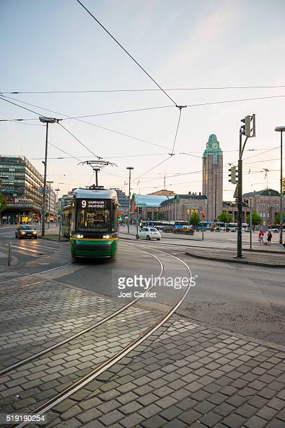 Tram and train station in Helsinki, Finland