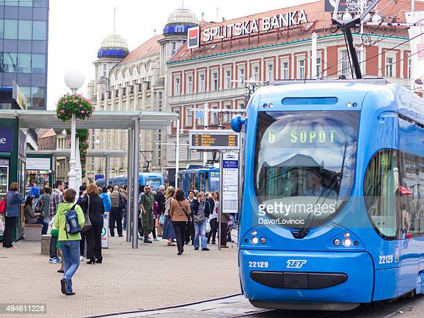 Tram at Ban Jelacic Square in Zagreb, Croatia.