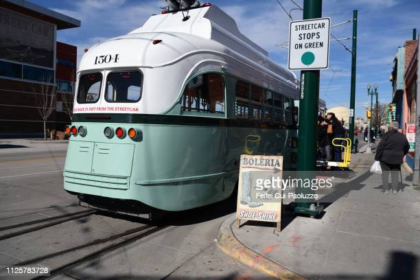 a tram at downtown el paso, texas, usa - feifei cui paoluzzo stock pictures, royalty-free photos & images