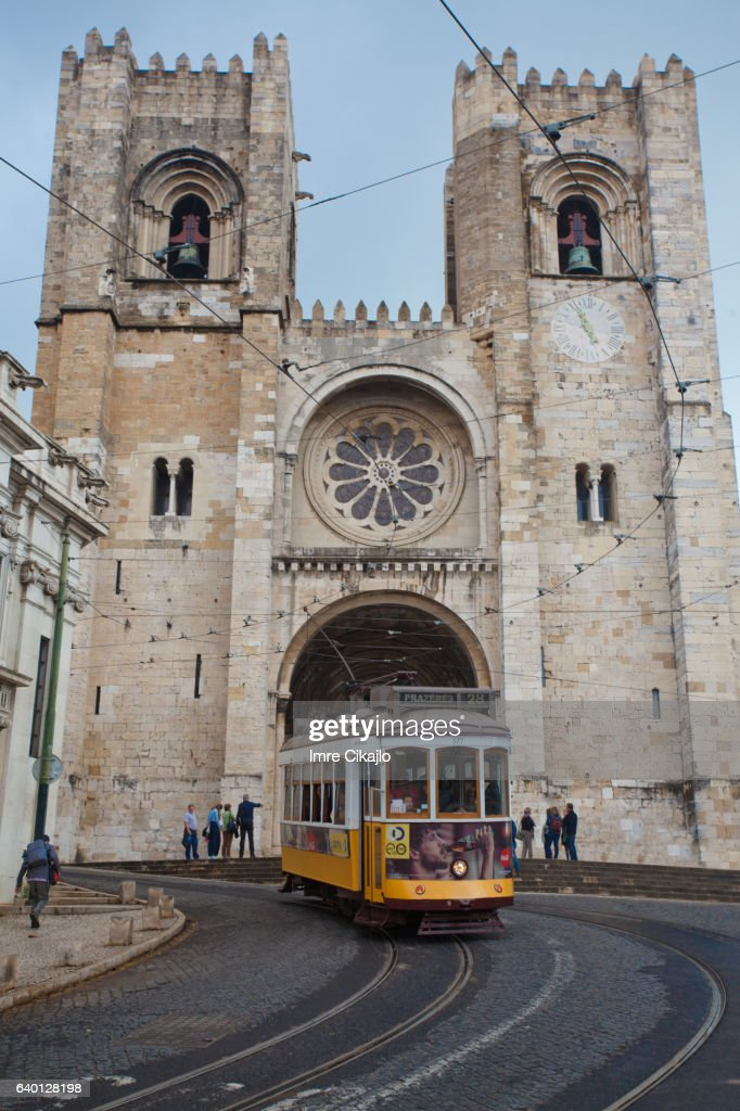 Tram at Lisbon Cathedral : Stock Photo