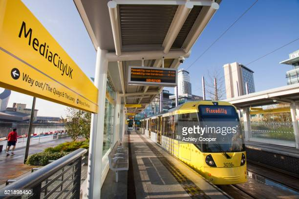A tram at Media City , Salford Quays, Manchester, UK.