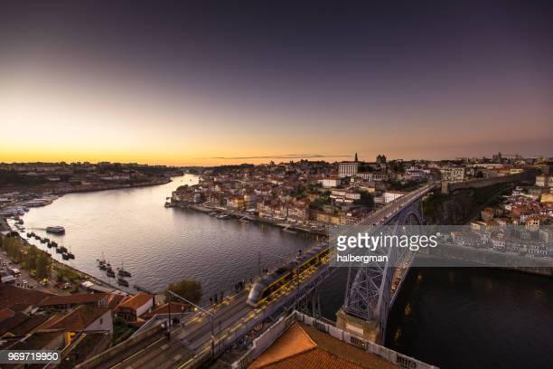 Tram Crossing from Porto to Vila Nova de Gaia at Sunset