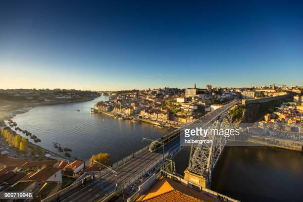 Tram Crossing Luis I Bridge in Porto