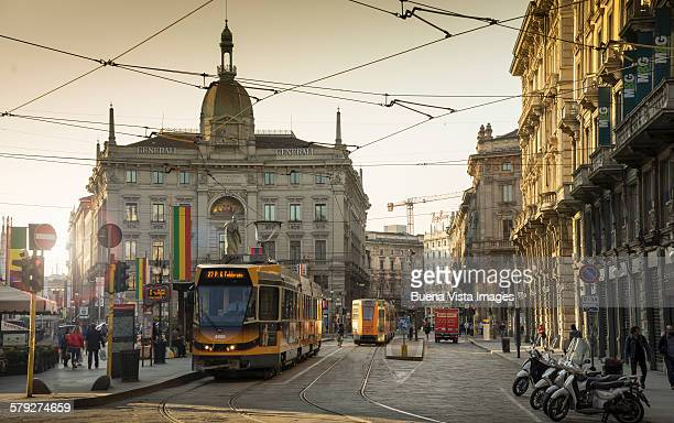 a tram downtown milan - milan stock pictures, royalty-free photos & images