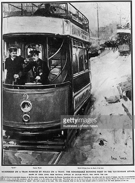 A tram hijacked by Latvian 'anarchists' after a wages robbery is pursued through the streets of Tottenham by police in a second tram 23rd January...