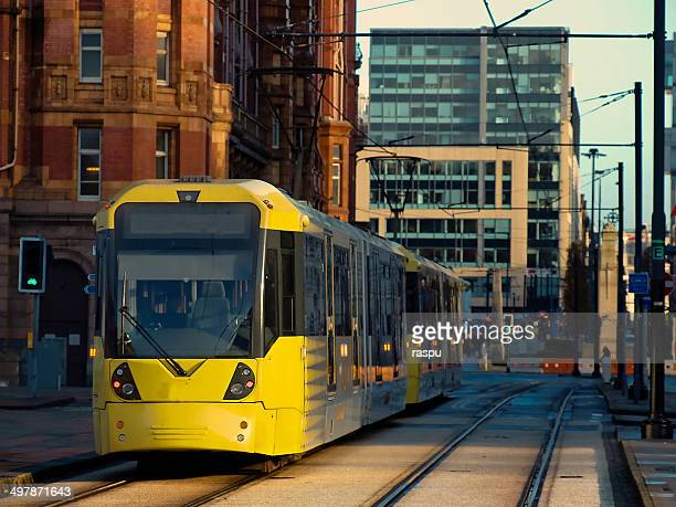 a tram iapproaching to st peter´s square - manchester england stock pictures, royalty-free photos & images