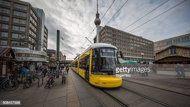 tram in alexanderplatz, berlin, germany - boxing day stock pictures, royalty-free photos & images