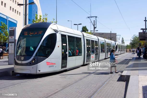 tram in central station, jerusalem. - 国際法 ストックフォトと画像