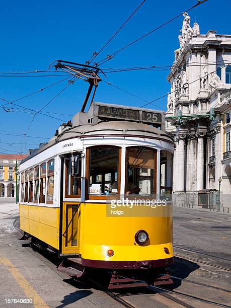Tram in Commerce Square, Lisbon, Portugal