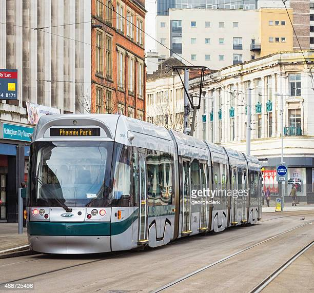 tram in nottingham - nottingham stock photos and pictures