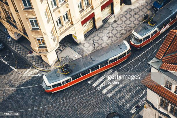 tram in prague - czech republic stock pictures, royalty-free photos & images