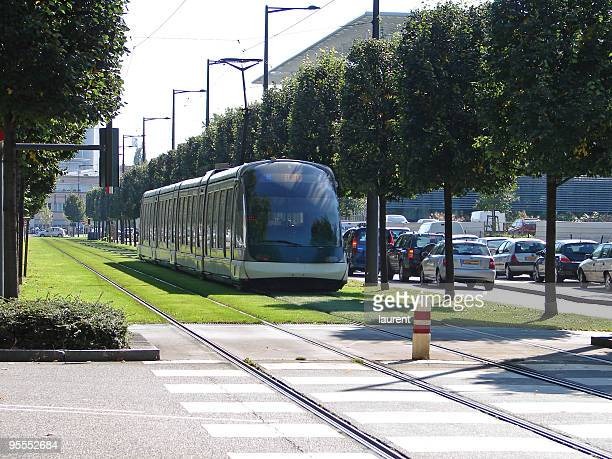 tram in strasbourg, france - tram stockfoto's en -beelden