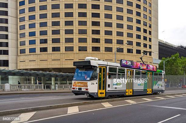 Tram in the Central Business Area of Melbourne Australia