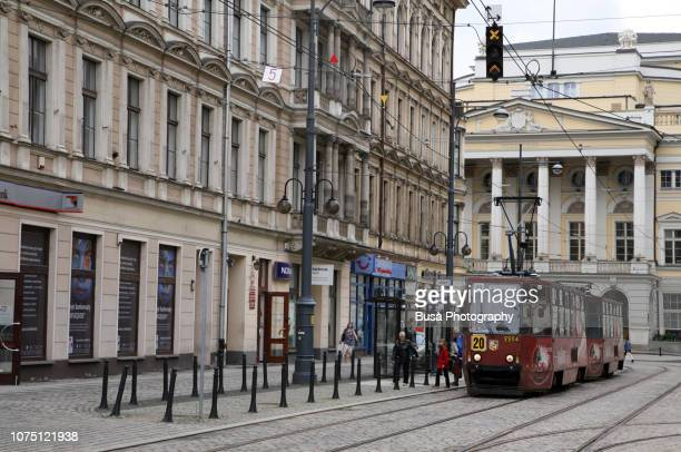 Tram in the historic district of Wroclaw, near the Opera Theater. Wroclaw, Poland