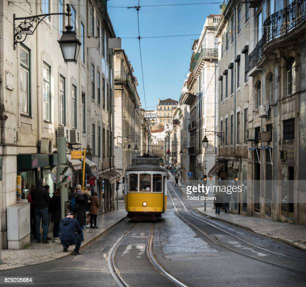 Tram in the streets of downtown Lisbon