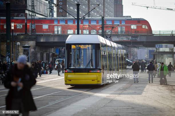 Tram is being pictured at 'Alexanderplatz' on February 14, 2018 in Berlin , Germany.