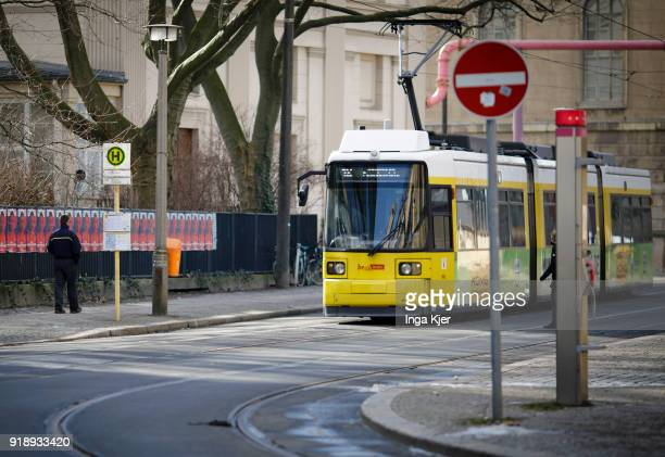 A tram is being pictured on February 14 2018 in Berlin Germany