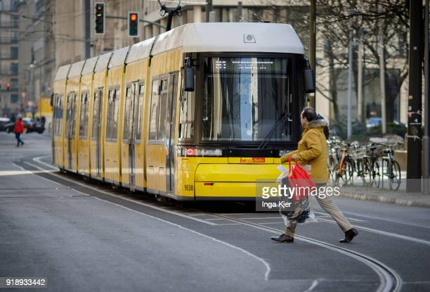 Tram is being pictured on February 14, 2018 in Berlin, Germany.