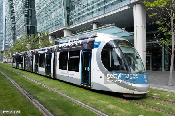 Tram lines or tracks for the Midland Metro tram public transport system at Snow Hill in the city centre on 5th August 2020 in Birmingham, United...