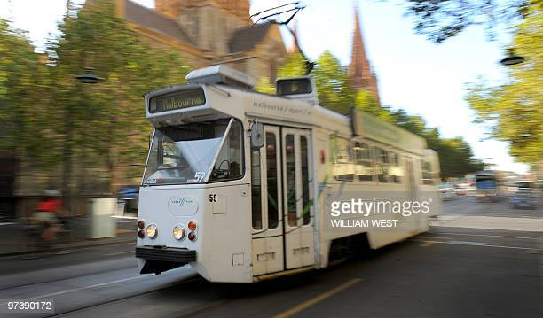 A tram makes its way down a CBD street in Melbourne on March 1 2010 Melbourne is home to the largest tram network in the world following the...