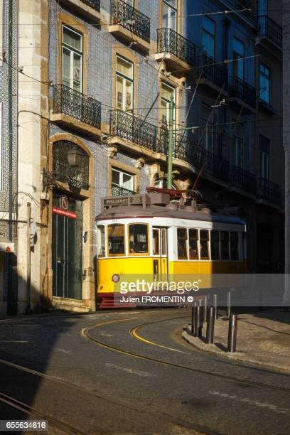 tram n.28, lisboa, portugal - alfama stock photos and pictures