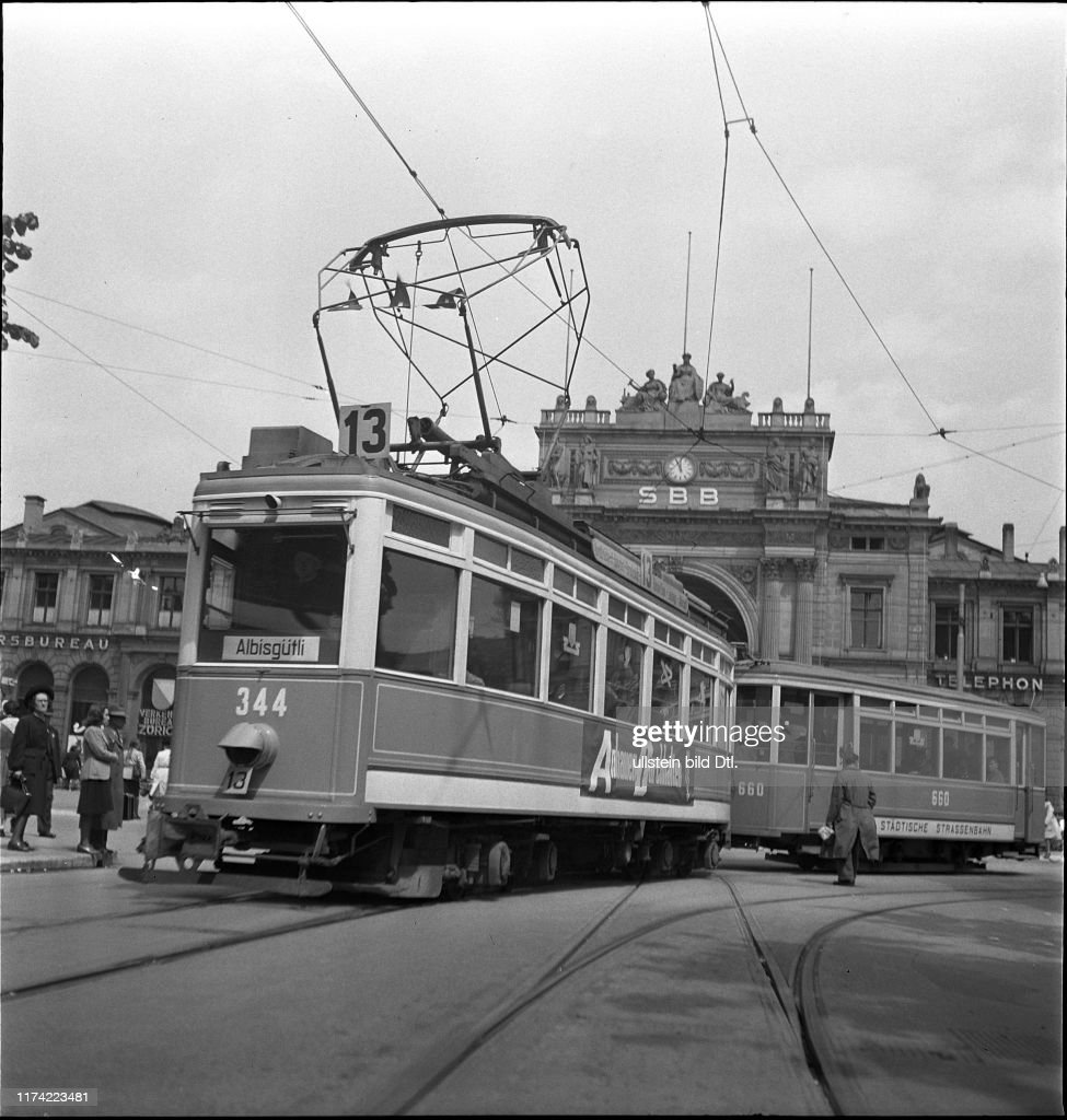 Tram number 13 near main station, Zurich 1943 News Photo - Getty Images