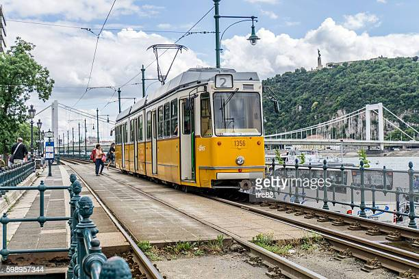 Tram Number 2 running alongside the River Danube at Budapest